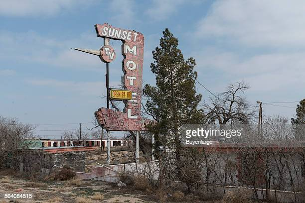 Sign for an abandoned motel in Monahans southwest of Odessa in Ward County Texas