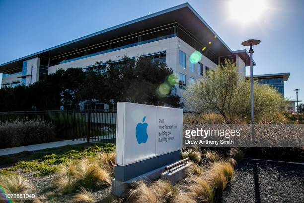 A sign for an Apple Inc campus on West Palmer Lane is seen on December 13 2018 in Austin Texas Apple announced it will be spending $1 billion on a...