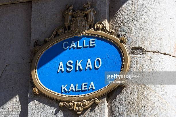 Sign for Askao Street Calle in Spanish Kalea in Biskaia in Bilbao Basque country Spain