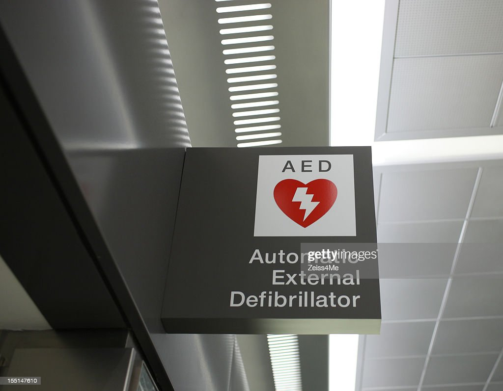 Sign for Automatic External Defibrillator : Stock Photo
