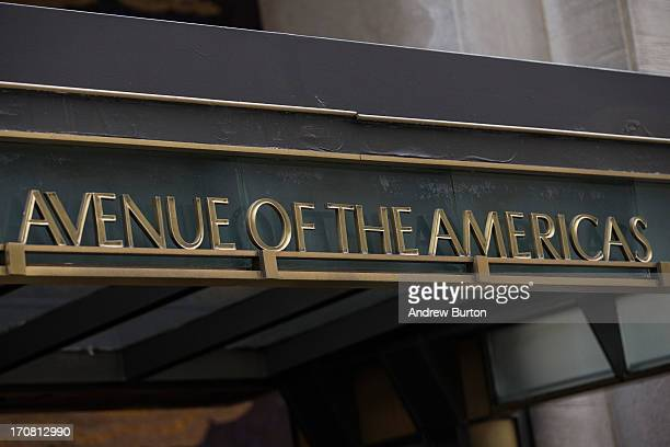 """Sign for """"Avenue of the Americas,"""" also known as Sixth Avenue, is seen on June 18, 2013 in New York City. The prices for office space along sixth..."""