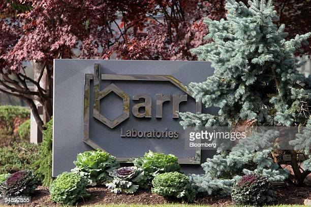 Sign for Barr Laboratories, outside its' Pomona, New York facilities, is seen Tuesday, November 1, 2005.