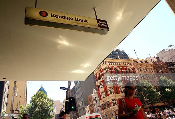 Sign for Bendigo Bank Ltd. Is displayed outside one of the company's branches in downtown Melbourne, Australia, on Monday, Feb. 18, 2008. Bendigo...