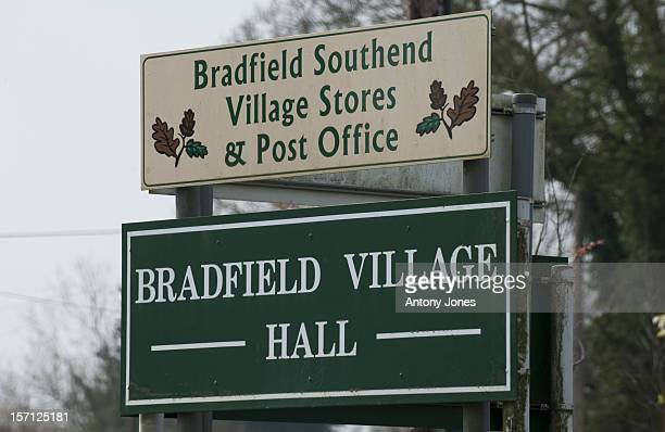 Sign For Bradfield Village Hall And Village Stores And Post Office In The Village Of Bradfield Near To Bucklebury Berkshire