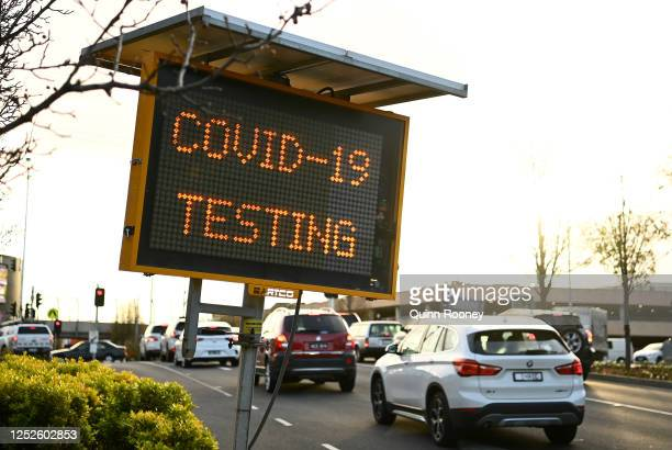 Sign for Covid-19 Testing is seen at the entrance to Chadstone shopping Centre on June 26, 2020 in Melbourne, Australia. Victoria has recorded 30 new...