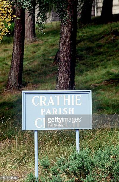 Sign For Crathie Church, Balmoral