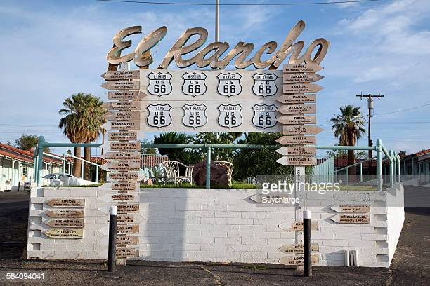 Sign for El Rancho motel in Barstow California