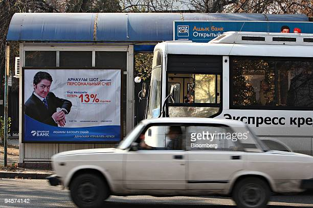 A sign for Eurasian Bank hangs at a bus stop in Almaty Kazakhstan on Sunday Oct 28 2007