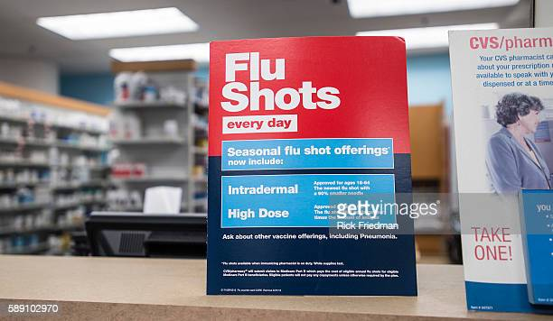 A sign for Flu Shots at the CVS Pharmacy in the South End of Boston MA after Boston Mayor Thomas M Menino declared a public health emergency in...