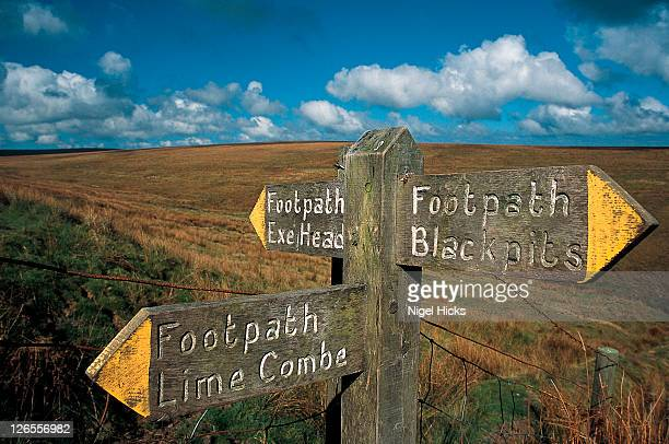 sign for footpath to exe head, the source of the river exe. - exmoor national park stock pictures, royalty-free photos & images