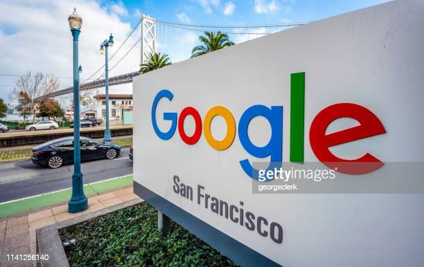 sign for google officies in san francisco - google stock pictures, royalty-free photos & images