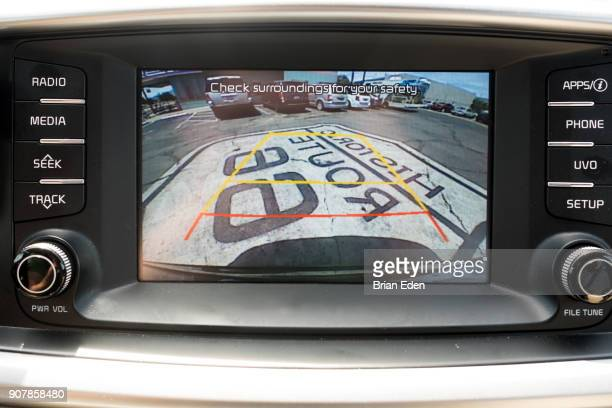 A sign for historic Route 66 is seen through the back-up camera of a vehicle in Kingman, Arizona