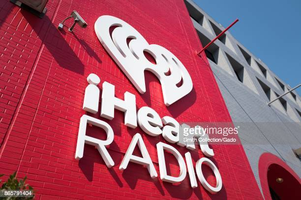 Sign for iHeartRadio music radio part of the iHeartMedia company at the company's local headquarters in the South of Market neighborhood of San...