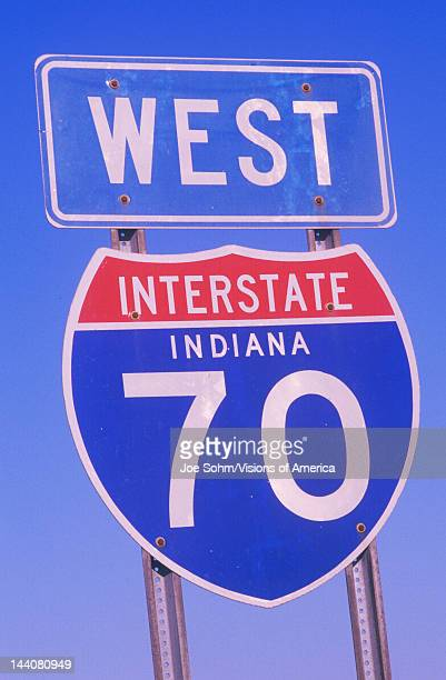 A sign for interstate 70 west in Indiana