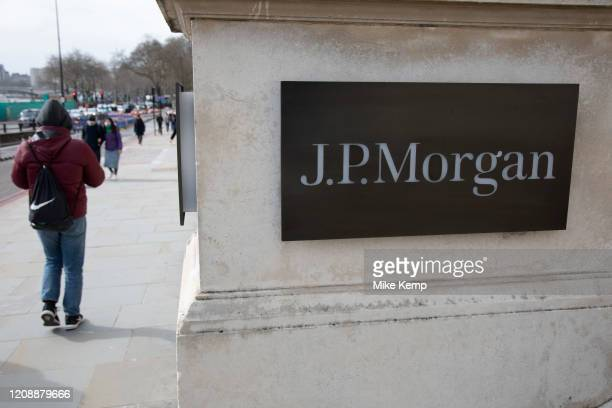 Sign for J.P. Morgan on 7th March 2020 in London, United Kingdom. JPMorgan Chase & Co. Is an American multinational investment bank and financial...
