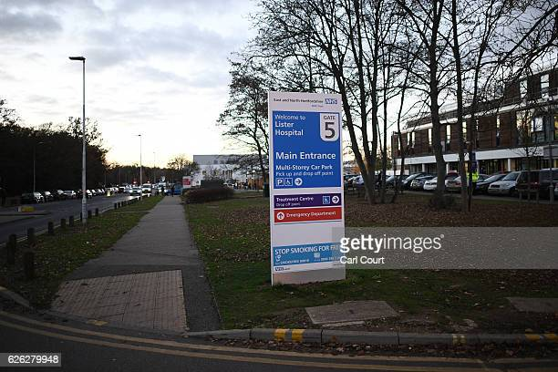 A sign for Lister Hospital is pictured on November 28 2016 in Stevenage England Barry Bennell a football coach accused of sex offences against young...