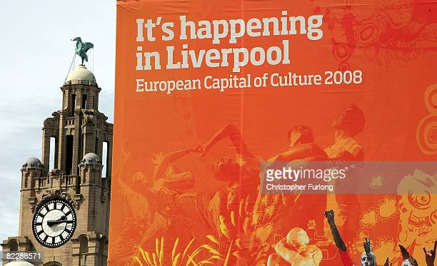 A sign for Liverpool's year as European Capital of Culture stands near to one of the city's famous Liver Birds on August 13 2008 in Liverpool England...