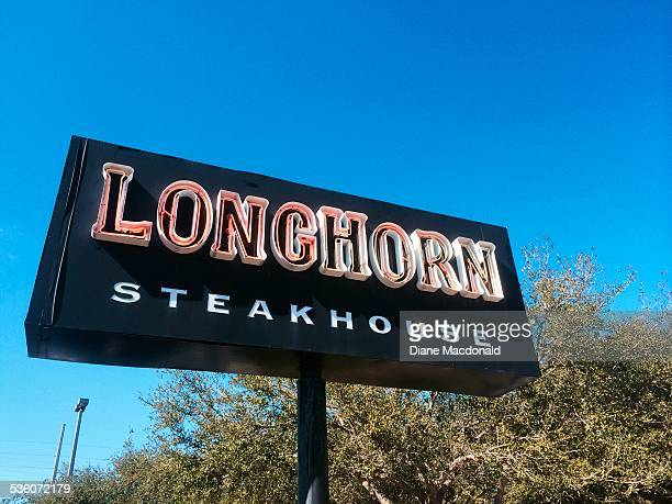 Sign for Longhorn Steakhouse at Jacksonville Beach, Florida, USA.
