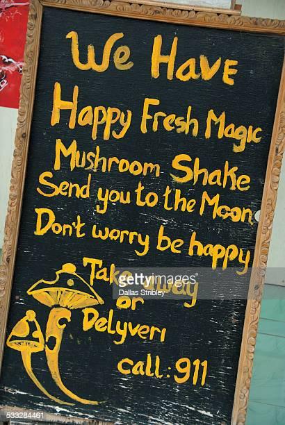 sign for magic mushrooms, on gili trawangan - magic mushroom stock photos and pictures