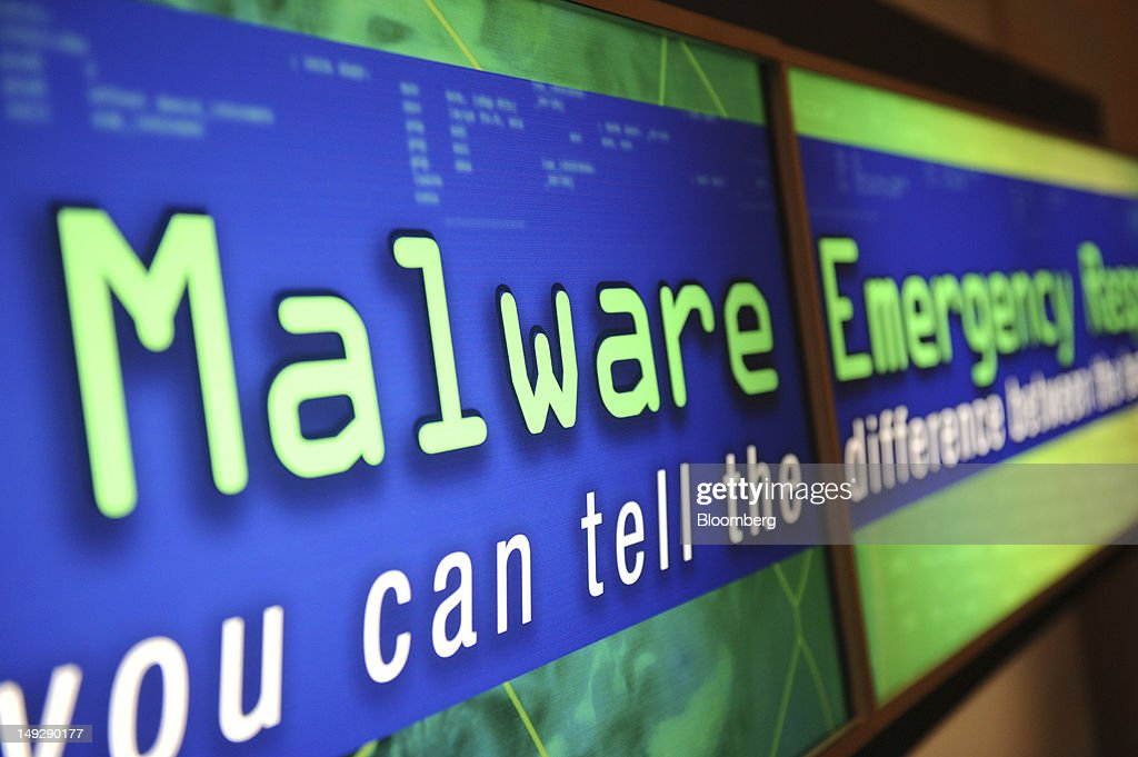 A sign for Malware is displayed during the Black Hat USA 2012 conference at Caesar's Palace resort and casino in Las Vegas, Nevada, U.S., on Wednesday, July 25, 2012. The conference brings together leaders from all facets of the information security world, from corporate and government sectors to academic and even underground researchers. Photographer: Jacob Kepler/Bloomberg via Getty Images