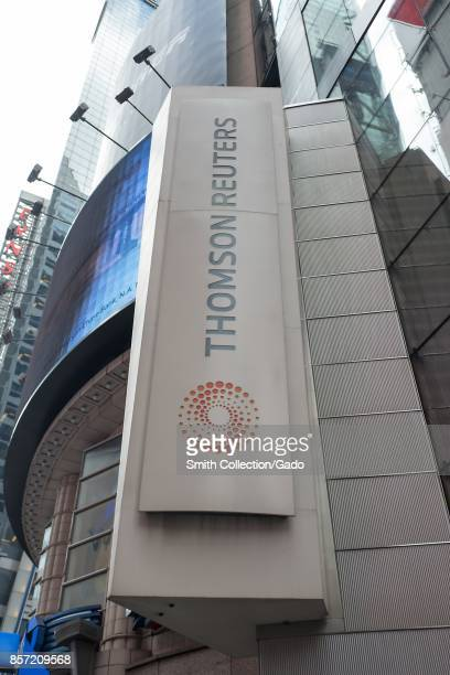 Sign for media company Thomson Reuters at Times Square in Manhattan, New York City, New York, September 15, 2017.