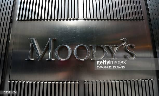A sign for Moody's rating agency is displayed at the company headquarters in New York September 18 2012 AFP PHOTO/Emmanuel Dunand / AFP / EMMANUEL...