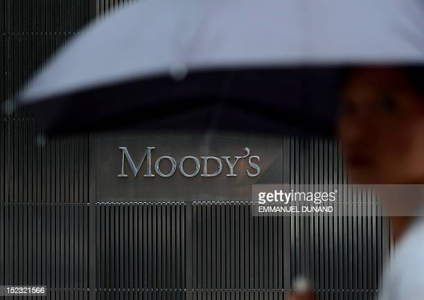 A sign for Moody's rating agency is displayed at the company headquarters in New York September 18 2012 AFP PHOTO/Emmanuel Dunand