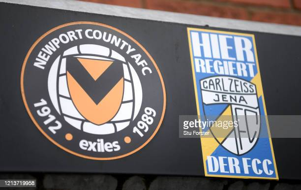 A sign for Newport County Football Club and a sticker for Carl Zeiss Jena a german team they played in the 1981 European Cup Winners Cup quarter...