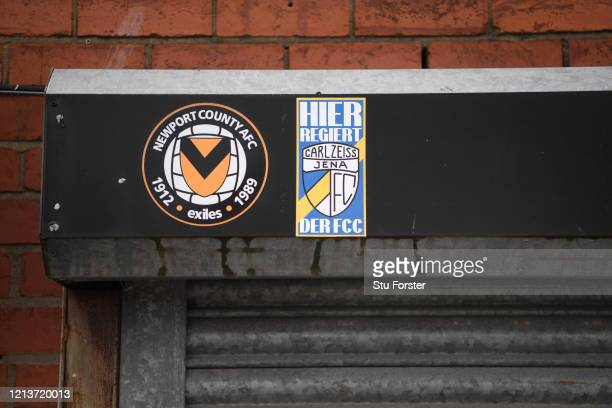 A sign for Newport County Football Club and a sticker for Carl Zeiss Jena a team they played in the 1981 European Cup Winners Cup quarter final is...