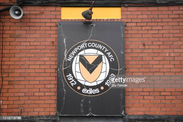 A sign for Newport County Football Club is pictured at Rodney Parade on March 20 2020 in Newport Wales