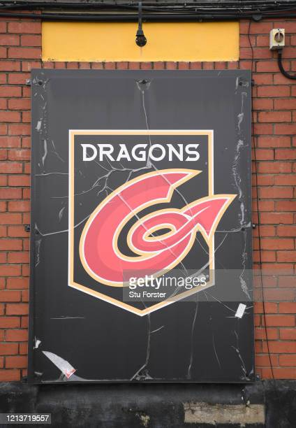 A sign for Newport Gwent Dragons Rugby Union Club is pictured at Rodney Parade on March 20 2020 in Newport Wales