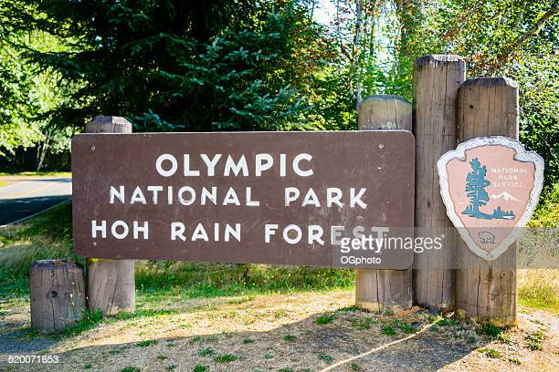 sign for olympic national park hoh rain forest - ogphoto stock pictures, royalty-free photos & images