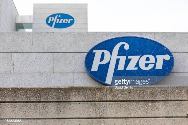 Sign for Pfizer is seen outside the Pfizer building on November 12, 2020 in Alcobendas, Madrid, Spain. Pharmaceutical company Pfizer announced...