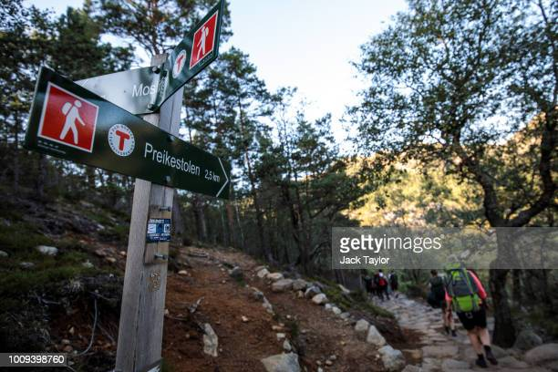 A sign for Preikestolen stands along the hiking path ahead of The 'Mission Impossible Fallout' Pulpit Rock Norway Screening on August 01 2018 in...