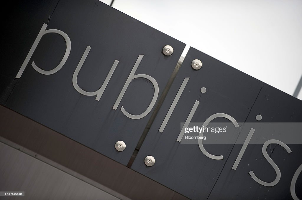 A sign for Publicis Groupe SA is seen at their headquarters in Paris, France, on Sunday, July 28, 2013. Publicis Groupe SA and Omnicom Group Inc. agreed to merge in an all-stock transaction to create the world's largest advertising company with $23 billion in revenue, toppling market leader WPP Plc. Photographer: Balint Porneczi/Bloomberg via Getty Images