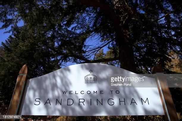 Sign for Sandringham House on the Sandringham Estate on April 17, 2021 in Sandringham, Norfolk. The Duke of Edinburgh travelled extensively during...