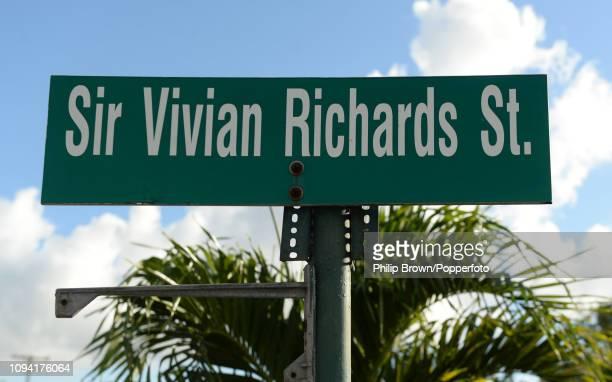 Sign for Sir Vivian Richards street on February 5, 2019 in St John's, Antigua.
