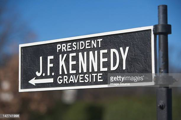 Sign for site of President Kennedy's grave, Arlington National Cemetery, Virginia, USA