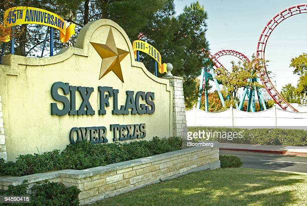 Sign for Six Flags Over Texas is shown just outside the park in Arlington, Texas Friday, November 10, 2006. Six Flags Inc., seeking to reduce its...