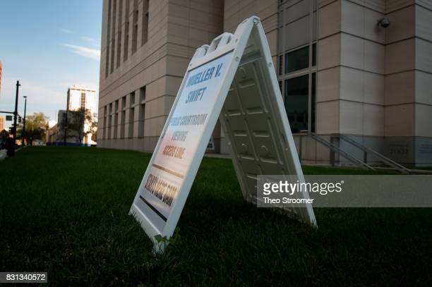 A sign for spectators is displayed during the civil case for Taylor Swift vs David Mueller at the Alfred A Arraj Courthouse on August 14 2017 in...