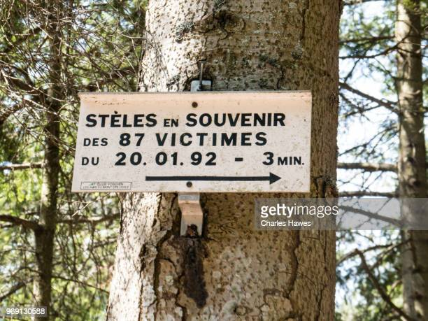 Sign for Steles en Souvenir, commemorating an air-plane crash.Images taken in the Alsace Region of France between Andlau and Obernai