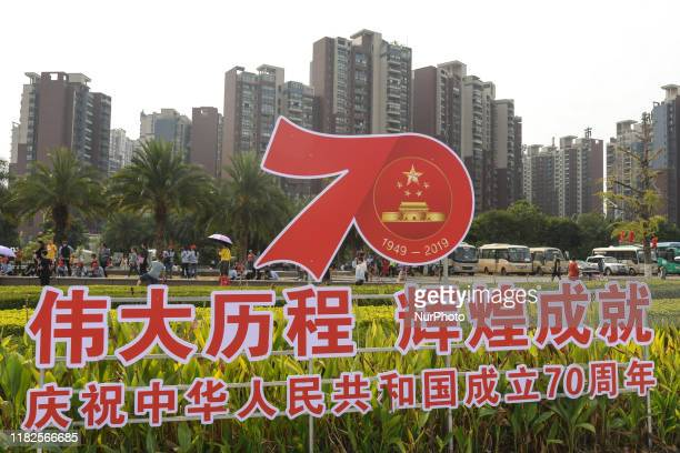 A sign for the 70th Anniversary of the Founding of The People'd Republic of China seen in Guilin On Tuesday October 22 in Guilin Guangxi Region China