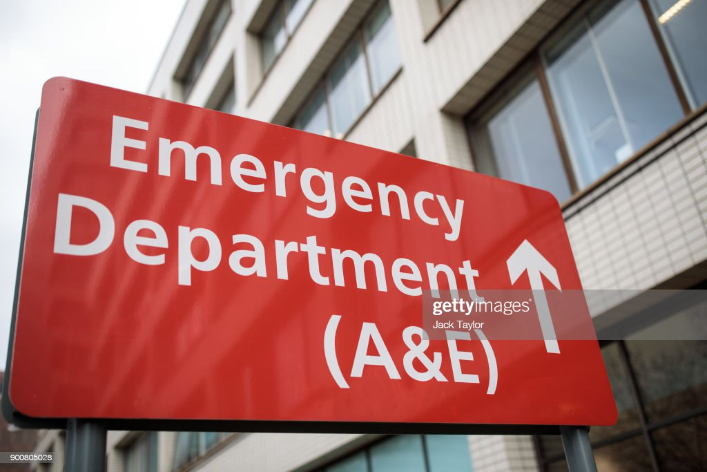 A sign for the Accident and Emergency department stands outside Guy's and St Thomas' Hospital on January 3, 2018 in London, England. Hospitals in the UK have been advised to postpone all non-urgent operations until the end of January as the NHS struggles to cope with the surge in patients over the winter period.