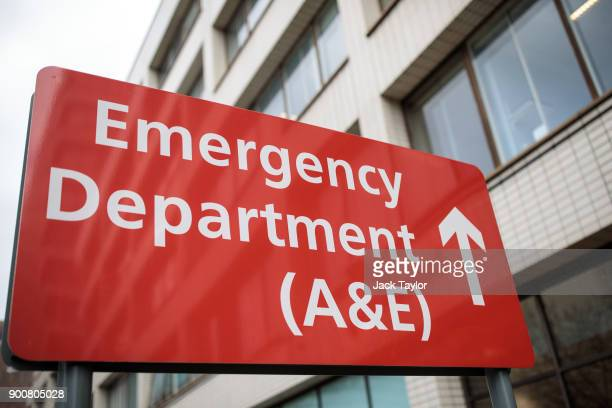 A sign for the Accident and Emergency department stands outside Guy's and St Thomas' Hospital on January 3 2018 in London England Hospitals in the UK...