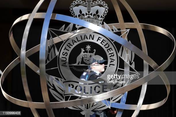 A sign for the AFP Headquarters is displayed on June 06 2019 in Canberra Australia On Tuesday Australian Federal Police officers raided the home of...