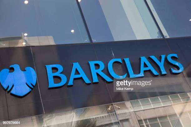 Sign for the brand and high street bank Barclays in Birmingham United Kingdom