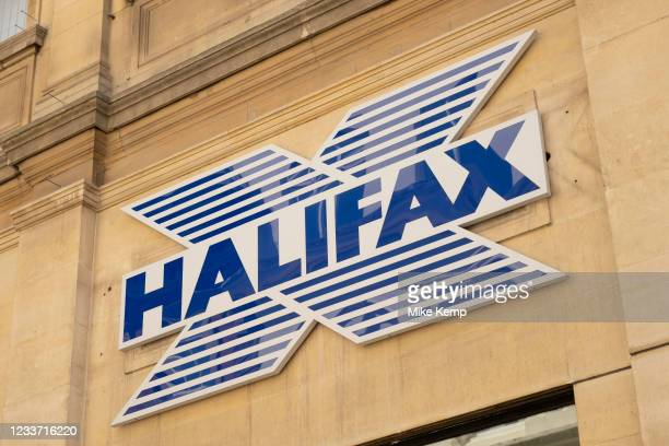 Sign for the brand and high street bank Halifax on 23rd June 2021 in Coventry, United Kingdom. Halifax also known as The Halifax is a British banking...