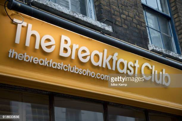 Sign for The Breakfast Club restaurant in Soho London England United Kingdom The Breakfast Club is incredibly popular amongst young people who are...