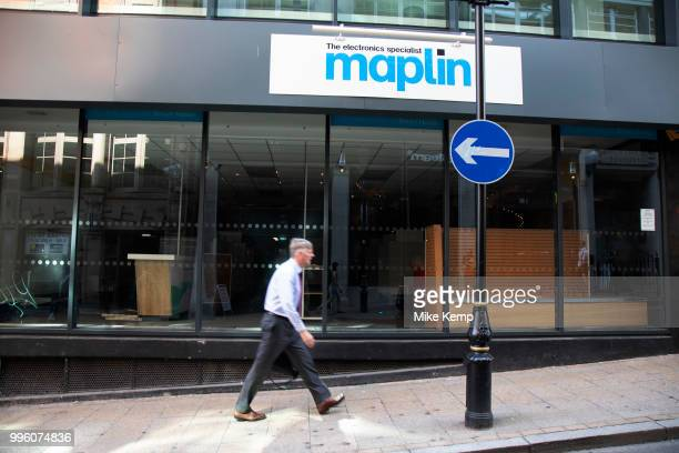 Sign for the closed down former electronics brand Maplin in Birmingham United Kingdom