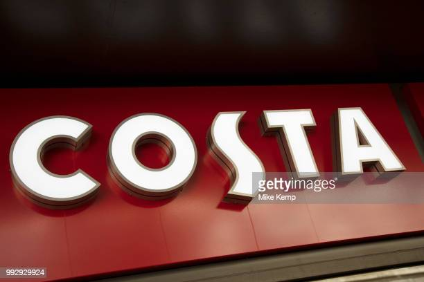 Sign for the coffee shop and brand Costa in Birmingham United Kingdom